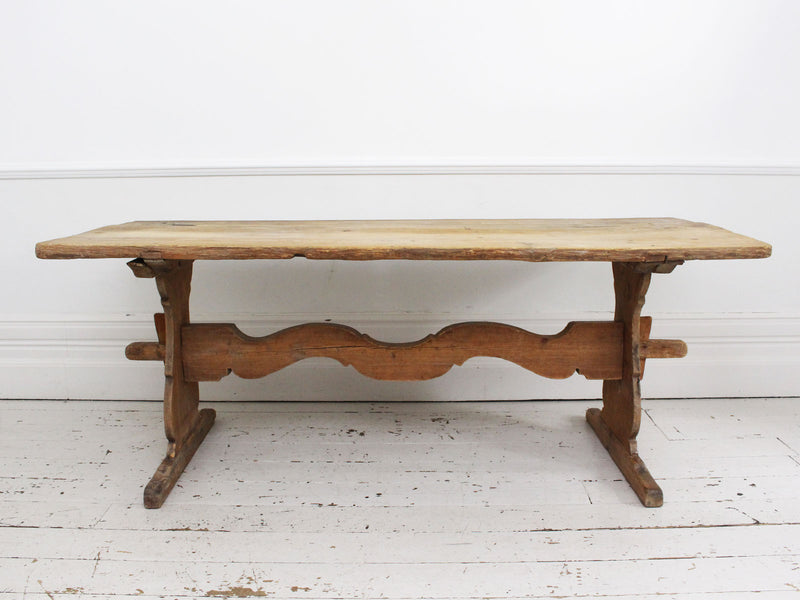An 1800 Swedish Pine Trestle Dining Table