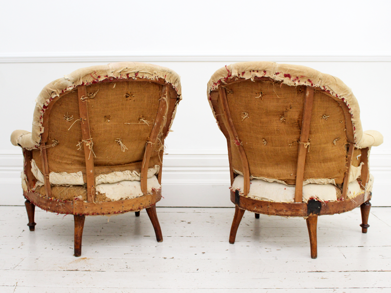 Large Pair of Unupholstered Antique French Napoleon III Buttonback Armchairs