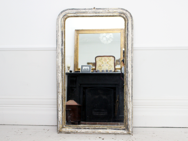 Large Gold Frame Mirror: Large Antique French Mirror With Silver & Gold Frame