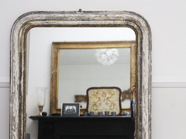 Large Antique French Mirror With Silver & Gold Frame