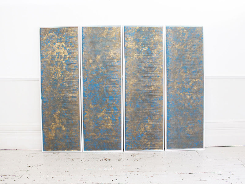 Four 18th C Hand Gilded & Blue Laminated Wall Covering Panels