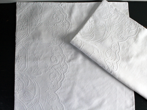 50cm Square Cushion - Antique French White on White Embroidered Cornely on Linen