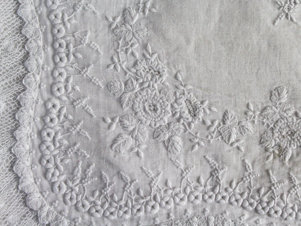 40cm Square Cushion - Antique French White on White Embroidered Lawn on Linen