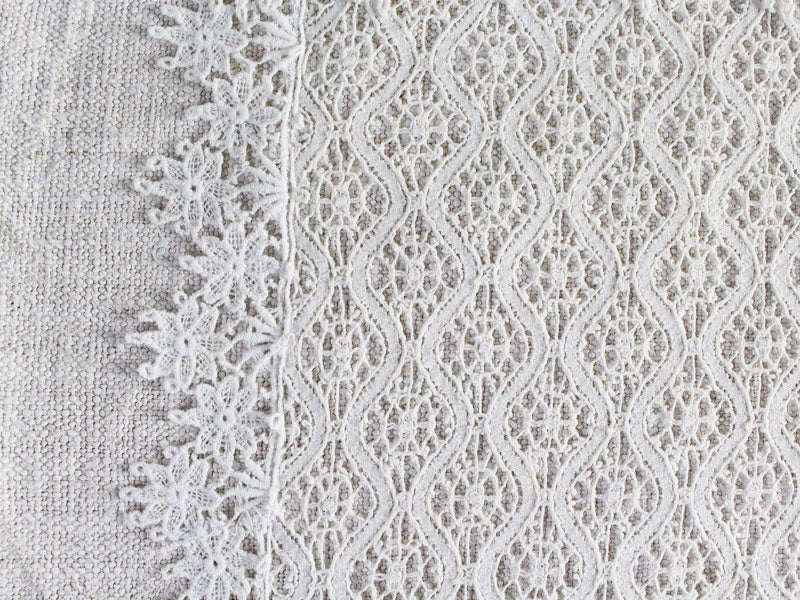 50cm Square Cushion - Antique French Lace on Chanvre