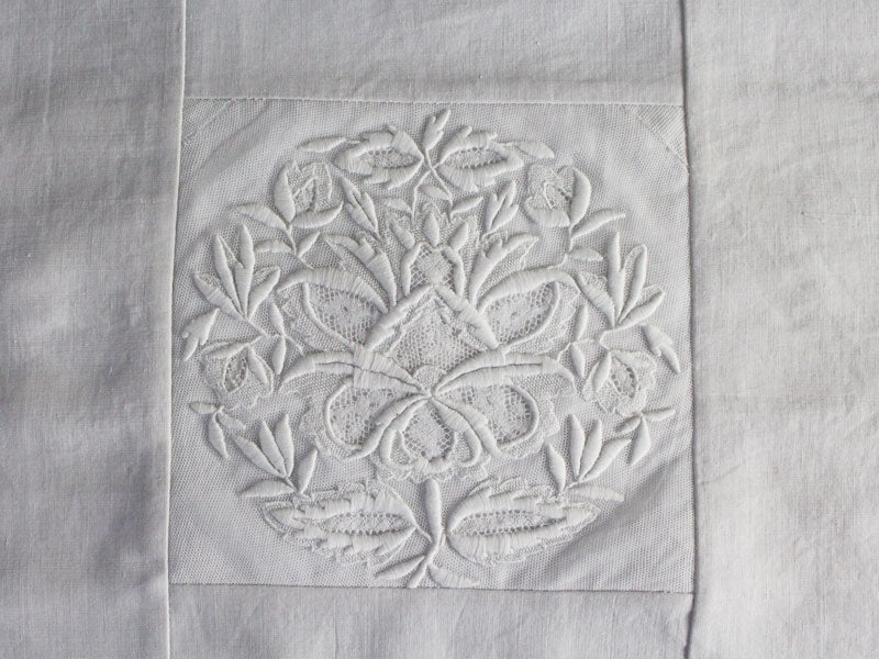 50cm Square Cushion - Antique French White on White Fine Embroidery on Linen
