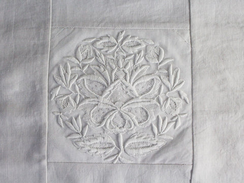 50cm Square Cushion - Antique French Fine Embroidery on Linen