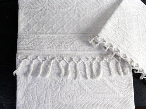 50cm Square Cushion - Antique French White Piqué Cushion