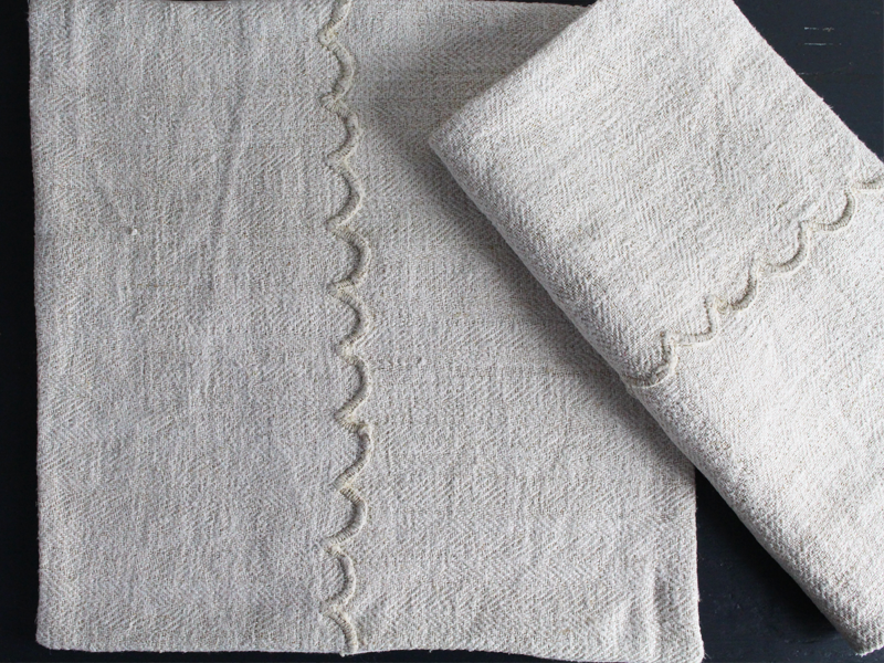 40cm Square Cushion - Antique French Rustic Linen with Scalloped Edge