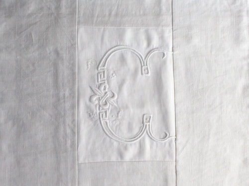 50cm Square Monogrammed Cushion - Antique French White on White Embroidered 'C' on Linen