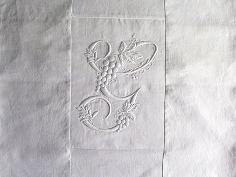 50cm Square Monogrammed Cushion - Antique French White on White Embroidered 'G' on Linen