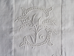 50cm Square Monogrammed Cushion - Antique French White on White Embroidered 'S' on Linen