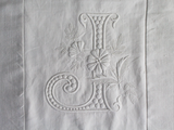 50cm Square Monogrammed Cushion - Antique French White on White Embroidered 'J' on Linen