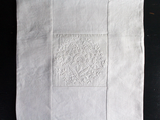 Copy of 40cm Square Cushion - Fine Antique French White on White Embroidery on Linen