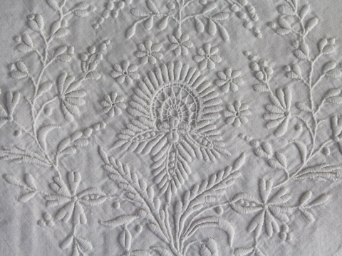40cm Square Cushion - Fine Antique French White on White Embroidery on Linen