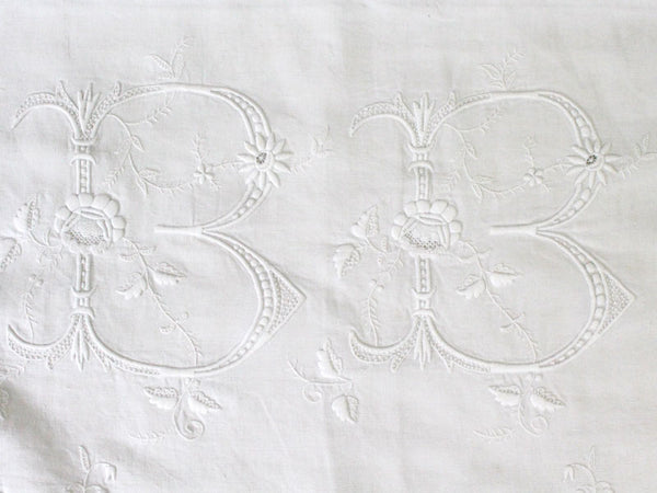 Huge Antique French Monogrammed Hand Embroidered Linen Sheet