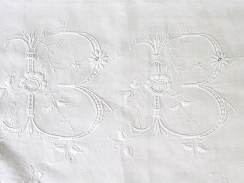 Huge Antique French Monogrammed Hand Embroidered Linen Sheet 'BB'