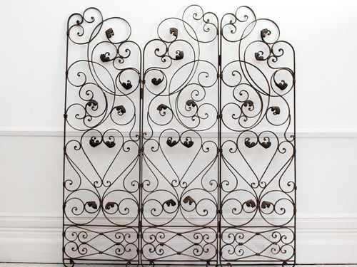 An Early 20th C Ornate Wrought Iron Three Sided Screen
