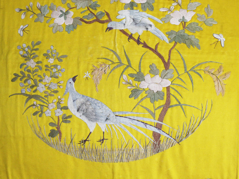 Embroidered Yellow Silk & Linen Chinoiserie Cushion - PH565