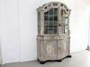 An 18th Century Limed Oak Serpentine Fronted Bruges Vitrine with Pale Blue Interior