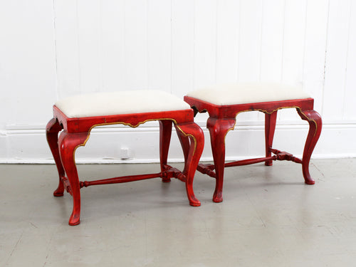 A 19th Century Pair of Scarlet Painted Stools