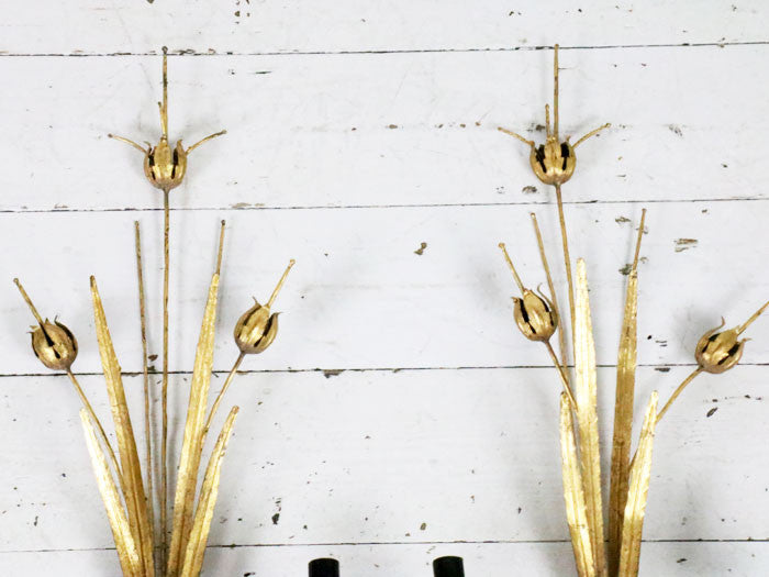 Antique French poppy and leaf gold metal wall lights