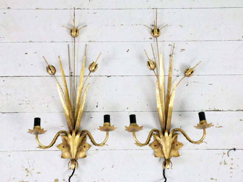 Antique French thistle and leaf gold metal wall lights