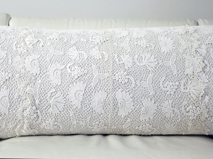 Antique French linen bolster with Irish lace panels by Charlotte Casadéjus
