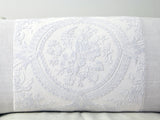 Antique French tulle embroidery panel on linen bolster by Charlotte Casadesjus