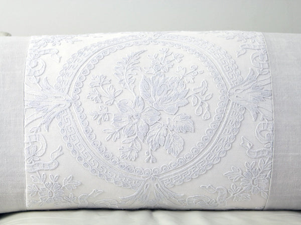 Antique French tulle embroidery panel on linen bolster by Charlotte Casadéjus