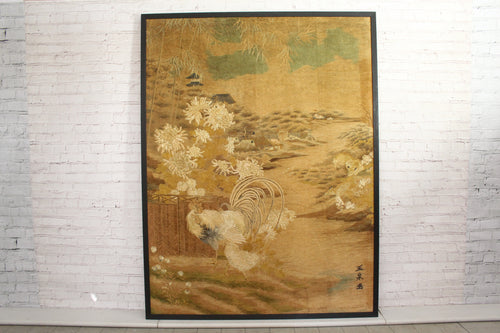 A Very Large Antique Japanese Hand Embroidery Depicting Birds and Animals
