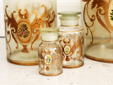 A set of 7 hand painted French apothecary jars