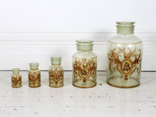 A Set of Five Hand Painted Antique Apothecary Jars