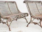 A Rare Pair 19th C French Arras Bench Love Seats with Claw Feet and Badges