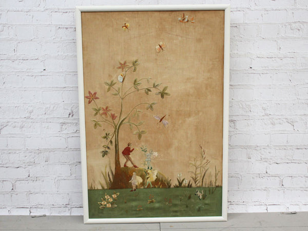 Antique Arts and Crafts Framed Embroidery Depicting Fairies and Animals