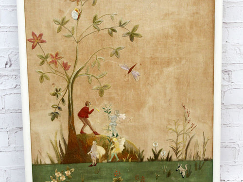 Charming Arts and Crafts Framed Embroidery Depicting Fairies and Animals