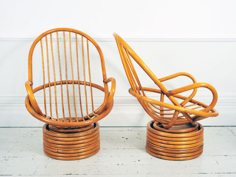 A Large Pair of 1950's French Rattan & Bamboo Swivel Armchairs