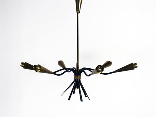 A black and gold 1960's six armed Italian ceiling light