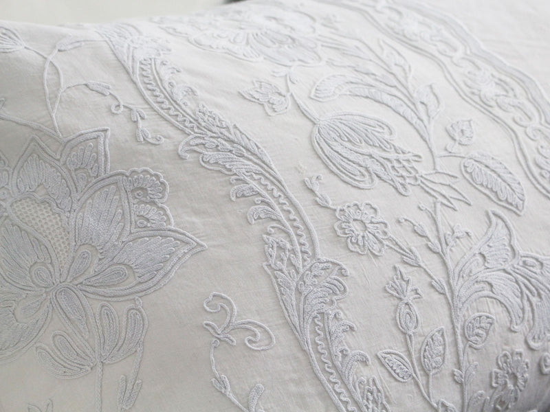 Bolsters - Antique French Pale Blue on White Cornely Embroidery on Linen Bolster PB85