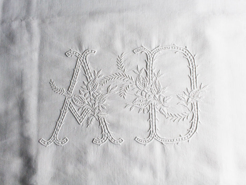 AD Large Bolster Cushion - Antique French AD Monogram on Linen PB3