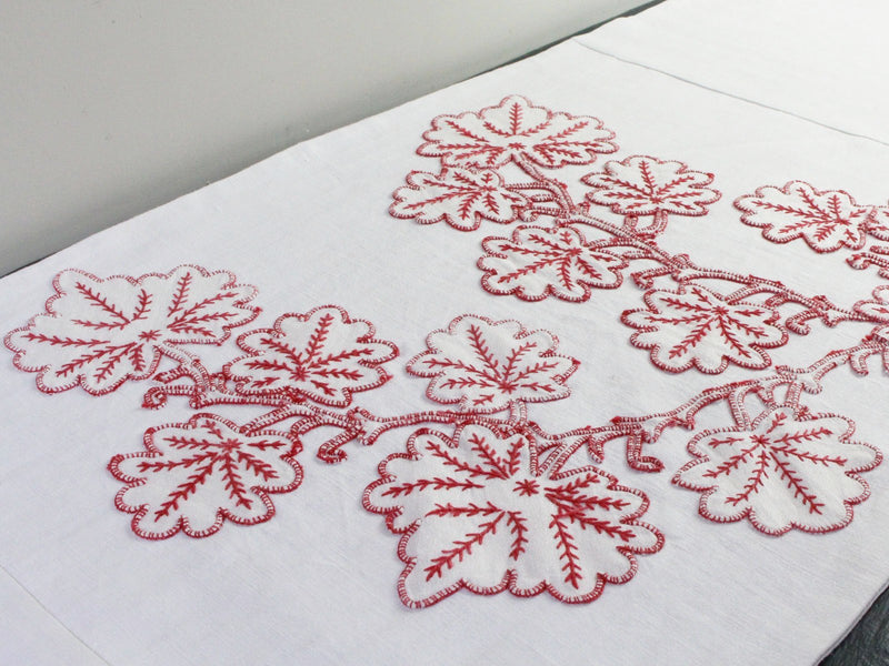 Bolsters - Antique French Red on White Embroidery on Linen Bolster by Charlotte Casadéjus