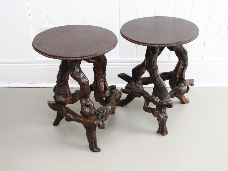 A Pair of Late 19th C Burr Root Side Tables with Leather Tops