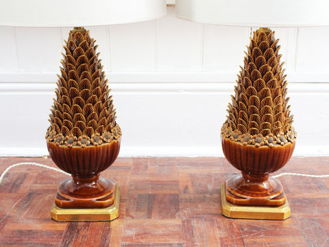 A Pair of 1970's French Tan Leather 'Dauphin' Table Lights