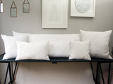 Medium Bolsters - Antique French White on White Emboidered Cornely on Linen by Charlotte Casadéjus