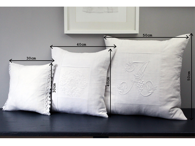50cm Square Monogrammed Cushion - Antique French White on White Embroidered 'A' on Linen