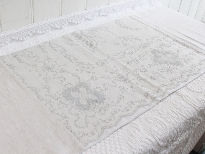 Bolsters - Antique French White on White Cornely Embroidery on Linen Bolster P310