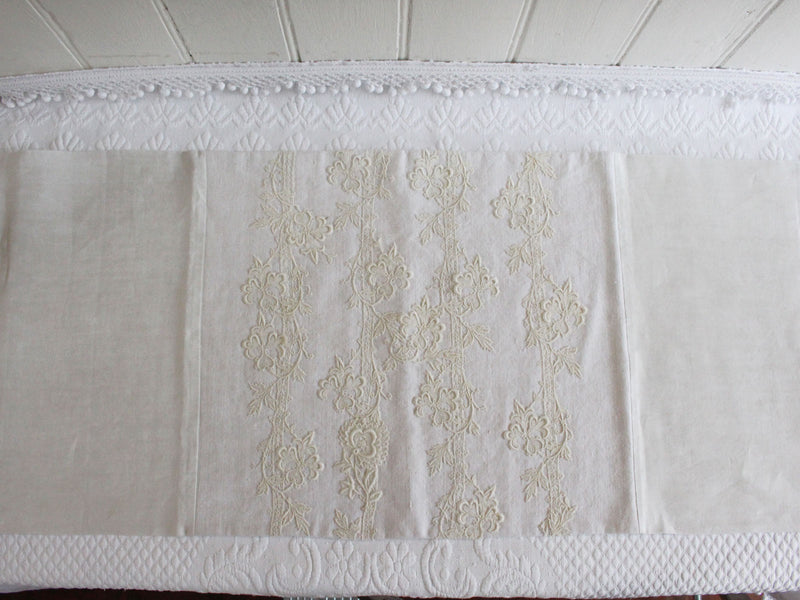Bolsters - Antique French White on White Hand Appliquéd Embroidery on Linen Bolster P319