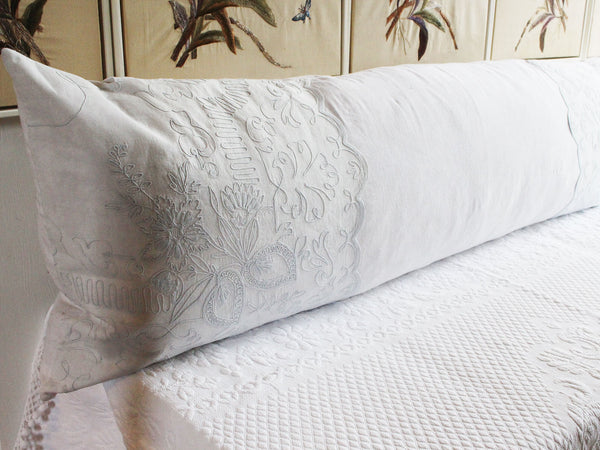 Bolsters - Antique French White on White scalloped Cornely Embroidery on Linen Bolster P320