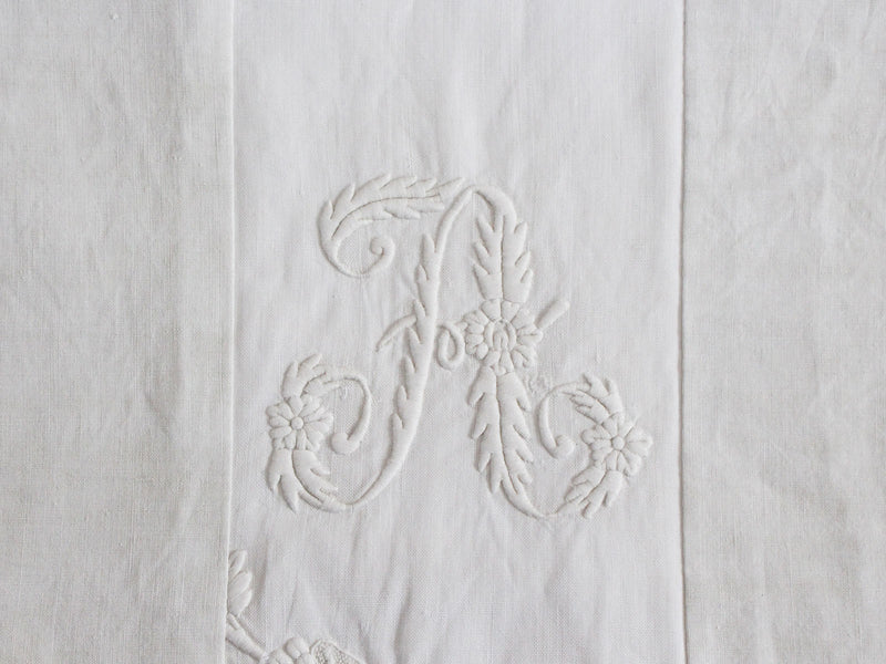 Small Bolster Monogrammed - Antique French White on White embroidered 'A' Cushion P317