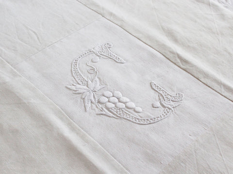 Antique French monogrammed linen large double sheet 'EB'