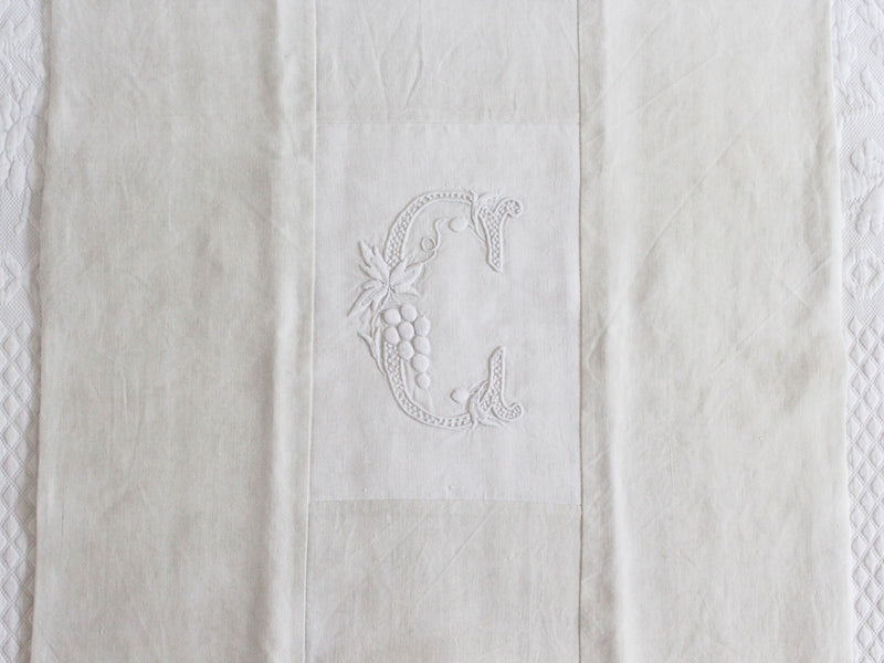 50cm Square Monogrammed Cushion - Antique French White on White Embroidered 'C' on Linen P321
